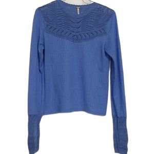 Free People Colette Lace Collar Blue Top